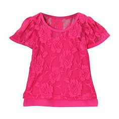 Hot Pink Girls Lace Short Sleeve Tee  Camisole Size 3T -- Check out the image by visiting the link. (This is an affiliate link) #BabyGirlTops