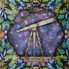 Telescope Enchanted Forest Adult ColoringColouringColoring BooksTelescopeJohanna