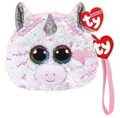 Give your child this cute and sparkly unicorn pouch to tote around their tiny treasures. Flippable sequined wristlet includes a wrist strap and zipper closure. Princesa Charlotte, Kate Middleton, Ty Plush, Happy 6th Birthday, Unicorn Fashion, Ty Beanie Boos, Beanie Babies, Purse Strap, Tiny Treasures
