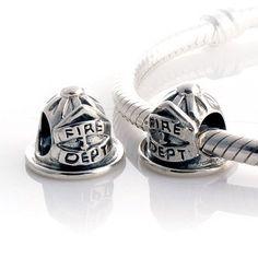 Firefighter Helmet Sterling Silver Bead Charm, fits Biagi, European, Troll, Chamilia Bracelets on Etsy, $20.00