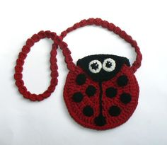 Crochet cross- body ladybug bag for girls. Cute summer accessory! Great as a gift Made of cotton yarn. Clor- red with black dots. Size, diameter- 6