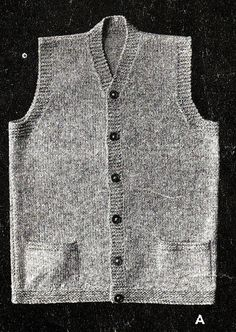 Vintage Knitting Pattern Mens 1940 s WWII Service Waistcoat LARGER PRINT