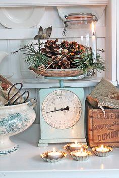 Pastel kitchen/ vintage scale decor