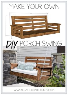 Furniture Craft Plans 830632725012132882 - Create this DIY Porch Swing with these step by step instructions. These build plans will walk you through the necessary steps to create this fun porch swing. Source by handmadehavenn Diy Furniture Redo, Outdoor Garden Furniture, Outdoor Decor, Geek Furniture, Pallet Furniture, Antique Furniture, Furniture Ideas, Diy Wood Projects, Home Projects