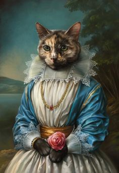 Digital Art Illustrations of Smartly Dressed Cats Samantha, the Cat. Digital Art Illustrations of Smartly Dressed Cats. By Eldar Zakirov. Art And Illustration, Art Illustrations, Portrait Illustration, Chat Royal, Costume Chat, Pet Costumes, Fancy Cats, Renaissance Paintings, Wow Art