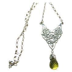 Celtic Design Sterling Silver Necklace with Large Lemon Quartz Drop