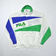 Rare Vintage 80s 90s FILA SPORT Windbreaker Jacket / FILA Biella Italia Tennis Wind Up Shell Jacket / Retro Streetwear Multi Color Block