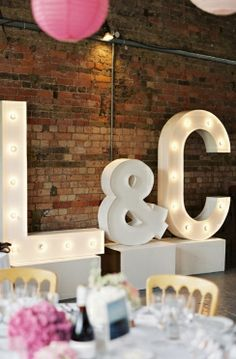Image By Depict Photography - An Elegant Contemporary Wedding At Loft Studios In… Marquee Wedding, Wedding Signage, Wedding Reception, Reception Ideas, Loft Studio, West London, Marquee Lights, Marquee Letters, 3d Letters