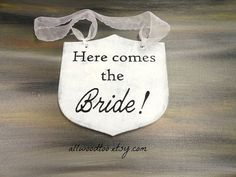 Ring Bearer Sign White Rustic Wedding Signs Photo by AllWoodToo