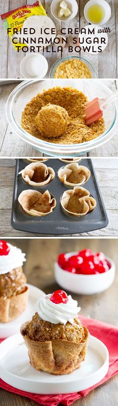 Are you a dessert lover? Then this Fried Ice Cream with Cinnamon Sugar Tortilla Bowls from @tasteandtell is for you! Ice cream, deep fried in a crunchy crust, with mouth-watering cinnamon sugar bowls - it's everything you love about desserts, all in one!