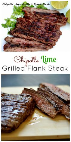 Chipotle Lime Grilled Flank Steak Delicious marinade with a zesty kick for the grill! Grilling Recipes, Lunch Recipes, Paleo Recipes, Mexican Food Recipes, Cooking Recipes, Chipotle Recipes, Flap Meat Recipes, Healthy Steak Recipes, Detox Recipes
