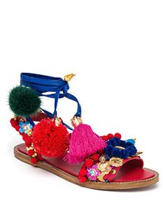 Dolce & Gabbana - Pom-Pom Leather Lace-Up Sandals