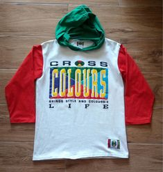 fa2b7b98489f Vintage 90s CROSS COLOURS Color Block Rap Hip Hop Hoodie T Shirt  fashion   clothing
