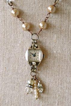 Timeless.+vintage+rh Timeless.+vintage+rhinestone+watch+necklace.+by+tiedupmemories,+$46.00