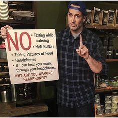 Ah! I love this so much! The sign Luke is holding is the new sign that's in Luke's diner for the revival!