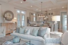 Pin for Later: COASTAL HOME FURNITURE. Love the colors used and the layout of the kitchen, dining, and family room in this Florida Charm House Tour. Check out the web site so that you take a look at alot more coastal home decor. Coastal Bedrooms, Coastal Living Rooms, Living Room Decor, Living Spaces, Coastal Bedding, Trendy Bedroom, Living Area, Beach Cottage Style, Beach House Decor