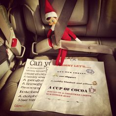 LOVE IT!!! Can't wait to get out the elf now! :) Elf on the shelf Christmas light scavenger hunt fun