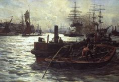 William Lionel Wyllie, 'Toil, Glitter, Grime and Wealth on a Flowing Tide' 1883