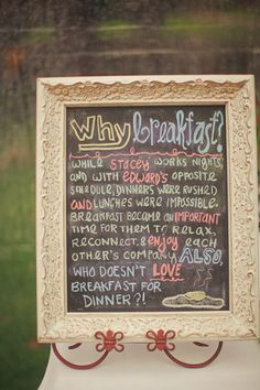 This is a cute idear. Breakfast for dinner at the reception.. why?.. change the names and it is perf. Garrett works nights, and we have an opposite schedule. Breakfast for dinner happens a couple times a month in our house <3