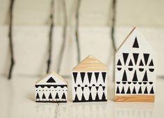 Hand painted wooden village miniature village hand by anamarko, $30.00