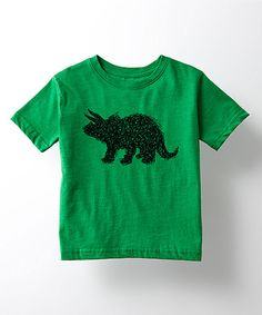 Take a look at this Cotton Jungle Kelly Green Triceratops Tee - Toddler & Kids today!