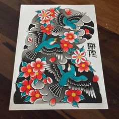 Disponível para tatuar ! #japonesetattoo #bird #sakura #彫煙