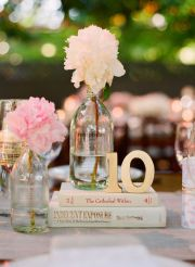 16. Table Setting: old books, old bottles, big flowers, and wooden letters; perfect amount of lovely. #modcloth #wedding