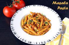 Masala Pasta Recipe Main Dishes with tomatoes, olive oil, clove, onions, salt, sugar, chili powder, coriander powder, jeera, ground turmeric, garam masala, water, pasta, cilantro leaves