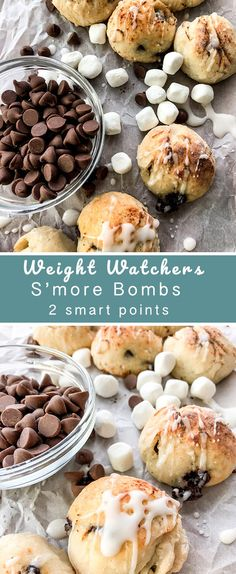 Bombs Little dough balls filled with chocolate and marshmallows and topped with a sweet glaze. - Recipe DiariesLittle dough balls filled with chocolate and marshmallows and topped with a sweet glaze. Skinny Recipes, Ww Recipes, Low Calorie Recipes, Cooking Recipes, Ww Desserts, Healthy Desserts, Dessert Recipes, Light Desserts, Healthy Recipes