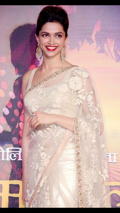 Simple saree with red lipstick