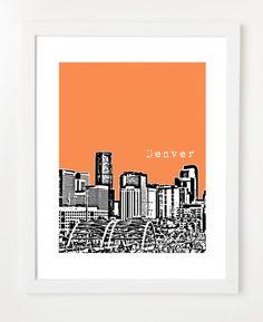 Gorgeous - and in orange (GFM's favorite color). Denver Poster City Skyline Art Print - Colorado State - VERSION 1 via Etsy.