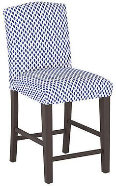 Marie Counter Stool, Navy Dot - Barstools & Counter Stools - Dining Room - Furniture One Kings Lane Antique Dining Rooms, Dining Room Furniture, Counter Stools, Bar Stools, Condo Living, Living Room, Brick Colors, Home Decor Kitchen, Kings Lane
