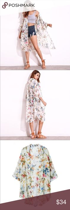 "Floral Kimono - Plus Size Plus Size Long Floral Kimono  ▪️Cream Multi Print ▪️Size 3X ▪️Measurements: L - 44.1"" B - 56.3""  Please Note - Due To Studio/Natural Lighting Color May Appear Slightly Different Tops Tunics"