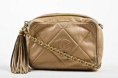 VINTAGE Chanel Beige Quilted Leather 'CC' Logo Tassel Camera Bag