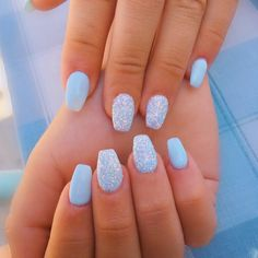 18 Cute Summer Nail Designs to Copy Right Now Fantastic blue sparkling summer nails! The post 18 Cute Summer Nail Designs to Copy Right Now appeared first on Summer Ideas. Acrylic Nails Coffin Short, Blue Acrylic Nails, Simple Acrylic Nails, Blue Nail Polish, Acrylic Nail Designs, Blue Gel Nails, Cute Shellac Nails, Summer Shellac Nails, Baby Blue Nails With Glitter