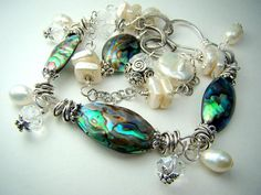 Abalone/pearl bracelet: I'M OBSESSED WITH ABALONE!!! Late christmas present anyone?