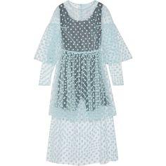 Paskal Polka-dot flocked tulle midi dress (873 AUD) ❤ liked on Polyvore featuring dresses, sky blue, blue wrap dress, sheer dress, blue slip, wrap dress and blue midi dress