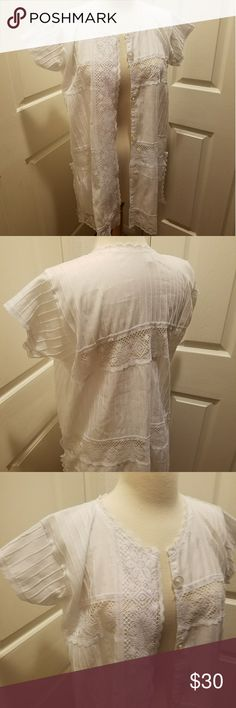 Vintage Mexican lace house coat or top Vintage so it might not be perfect. Please look closely at pics. Let me know if you have any questions because I would be happy to help. Open to offers :) thanks for checking out my closet! Happy Poshing! Tops