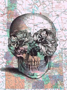 Cool! Map Prints, Repurposed Book Pages, Skull,peony/flower, colourful, steampunk, Paper Ephemera.home decor, affordable art. $8.50, via Etsy.