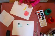 watercolor painting, it helps to talk with your child about gently dragging a loaded (full) brush against the edge of the paint container before painting. This helps keep paint puddles to a minimum and also teaches your child how to control the amount of paint that goes onto the paper. I wouldn't worry about this too much with really young children, but be three or four, your child should be able to grasp this concept.