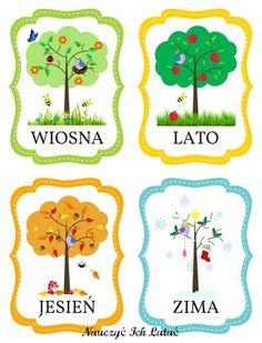 """Karty z porami roku przygotowywałam dość długo, ze względów czasowych.   Część była gotowa, ale jednak wciąż mi brakowało """"słynnego"""" dr... Weather For Kids, Diy For Kids, Crafts For Kids, Learn Polish, Kindergarten Math, Preschool, Polish Language, Baby Painting, Primary Teaching"""