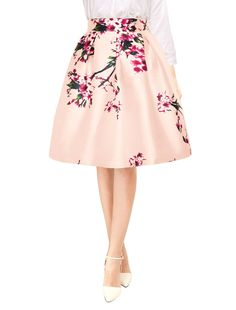 75e57b97e4b8 $15-$21Allegra K Women's Vintage Floral Prints High Waist Pleated A Line  Midi Skirt at Amazon Women's Clothing store:
