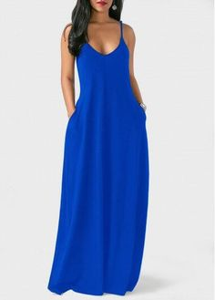 Spaghetti Strap Maxi Dress || Black || Crimson || Royal Blue ||