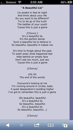 A beautiful lie- 30 seconds to mars lyrics