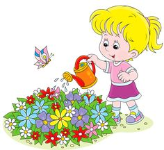 CakesDecor Theme: Watering Cans & Flower Pots - CakesDecor Cartoon Drawings, Easy Drawings, Quiet Time Activities, Kids Background, Flower Pots, Flowers, School Decorations, S Pic, Kids Cards