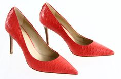 """Coach """"Teddie"""" Coral Orange Pointed Toe Python Embossed Stacked Classic Pump 7.5 #Coach #PumpsClassics #Party"""
