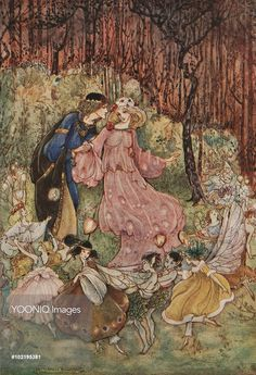 A medieval couple with fairies, from 'My Fairyland'.