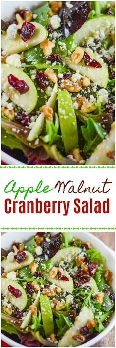 This Apple Walnut Cranberry Salad includes a Mixed Green Spinach Salad with Green Apples, Dried Cranberries, Walnuts and Gorgonzola Cheese. This salad explodes with flavor. Apple Walnut Cranberry Salad - Flavor Mosaic Lydia Tomanek I'd Eat T Easy Salads, Healthy Salad Recipes, Summer Salads, Healthy Snacks, Vegetarian Recipes, Healthy Eating, Cooking Recipes, Autumn Recipes Salad, Side Salad Recipes