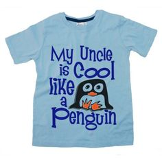 Dirty Fingers - My Uncle is Cool like a Penguin - Childs T-shirt, 3-4 years, Blue