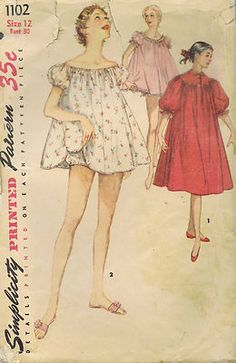 VINTAGE LOT OF 7 SEWING PATTERNS    COBBLER APRON | DRESS AND BAG |  TWO PIECE DRESS | DRESS AND SHORT JACKET | BABY DOLL PAJAMAS AND NIGHTGOWN    SHEATH DRESS | BLOUSE PATTERN